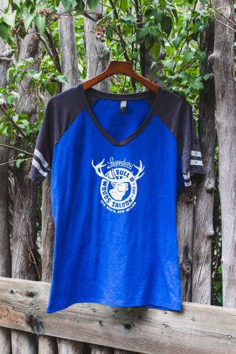 Blue Retro V-Neck Tee